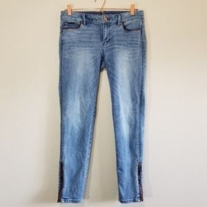 WHBM the skimmer skinny jean with ankle zip (e)